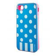 Накладка для iPhone 4 Araree Case Polka Dots голубой
