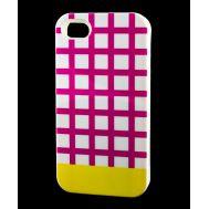Накладка для iPhone 4 Araree Case клетка фиолетовый / желтый