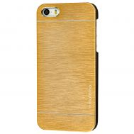 Чехол противоударный Motomo для iPhone 5 металл золотистый