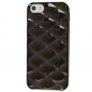 Чехол со стразами для iPhone 5 черный с синими камнями
