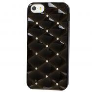Чехол со стразами для iPhone 5 черный с белыми камнями