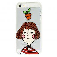 Чехол для iPhone 5 с принтом девочка с вазоном