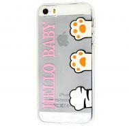 Чехол для iPhone 5 силиконовый с принтом hello baby