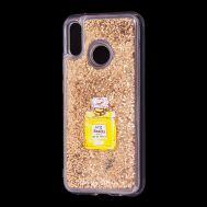 """Чехол для Huawei P20 Lite Блестки вода золотистый """"духи"""""""