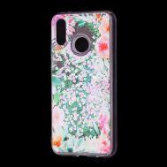 """Чехол для Huawei P20 Lite Блестки вода светло-розовый """"цветущие уголки"""""""