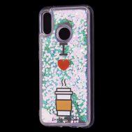 """Чехол для Huawei P20 Lite Блестки вода светло-розовый """"я люблю кофе"""""""