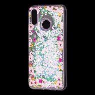 "Чехол для Huawei P20 Lite Блестки вода светло-розовый ""цветы"""