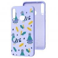 Чехол для Huawei P40 Lite E Wave Fancy pigeon with sunflower seeds / light purple