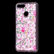 "Чехол для Huawei Y6 Prime 2018 Блестки вода светло-розовый ""розовые цветы"""