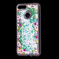 "Чехол для Huawei Y6 Prime 2018 Блестки вода светло-розовый ""цветы"""