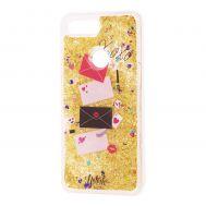"""Чехол для Xiaomi Mi 8 Lite Блестки вода Fashion золотистый """"Хохо"""""""