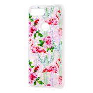"""Чехол для Xiaomi Mi 8 Lite Блестки вода светло-розовый """"фламинго и кактусы"""""""