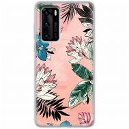 Чехол для Huawei P40 Mixcase цветы и листья