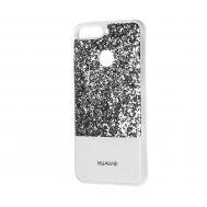 Чехол для Huawei Y6 Prime 2018 Leather + Shining серебристый