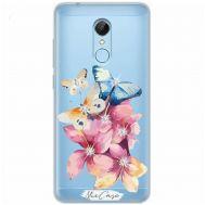 Чехол для Xiaomi Redmi 5 Mixcase стразы цветы бабочки
