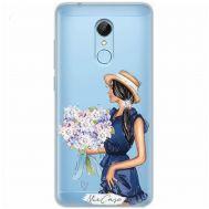 Чехол для Xiaomi Redmi 5 Mixcase стразы девушка с цветами