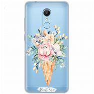 Чехол для Xiaomi Redmi 5 Mixcase стразы рожок с цветами