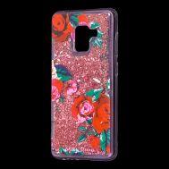 """Чехол для Samsung Galaxy A8 2018 (A530) вода красный """"красные розы"""""""