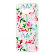 """Чехол для Samsung Galaxy J3 2016 (J320) вода светло-розовый """"фламинго и кактусы"""""""
