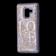 "Чехол для Samsung Galaxy A8 2018 (A530) вода серебристый ""Love"""