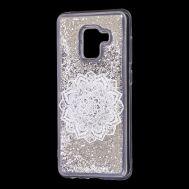 "Чехол для Samsung Galaxy A8 2018 (A530) вода серебристый ""белая мандала"""