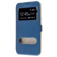 Чехол книжка для Huawei P10 Lite Modern Style с двумя окнами синий