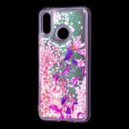 """Чехол для Huawei P20 Lite Блестки вода розовый """"розово-фиолетовые цветы"""""""