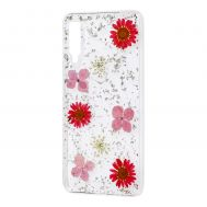 Чехол гербарий для Samsung Galaxy A7 2018 (A750) розовый