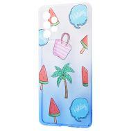 Чехол для Samsung Galaxy A72 Wave Sweet white / blue / palm