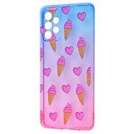 Чехол для Samsung Galaxy A72 Wave Sweet blue / pink / ice-cream