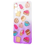Чехол для Samsung Galaxy A72 Wave Sweet white / purple / cake