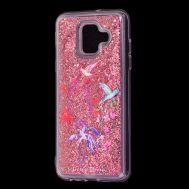 """Чехол для Samsung Galaxy A6 2018 (A600) Блестки вода красный """"колибри"""""""