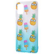 Чехол для Samsung Galaxy A71 (A715) Wave Sweet white / turquoise / pineapple