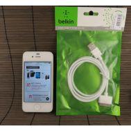 Кабель USB для iPhone 4 черный Belkin (тех пак)