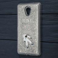 """Чехол для Meizu M5 Note Блестки вода серебристый """"космонавт"""""""