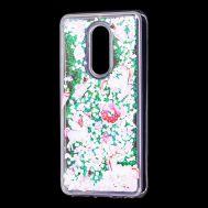 """Чехол для Meizu M8 Lite Блестки вода светло-розовый """"маленькие единороги"""""""