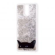 """Чехол для Meizu M6 Note Блестки вода серебристый """"черный кот"""""""