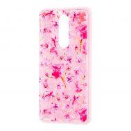 """Чехол для Meizu M8 Note Блестки вода розовый """"розовые цветы"""""""