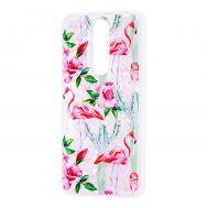 """Чехол для Meizu X8 Блестки вода светло-розовый """"фламинго и кактусы"""""""