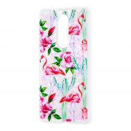 """Чехол для Meizu M8 Note Блестки вода светло-розовый """"фламинго и кактусы"""""""