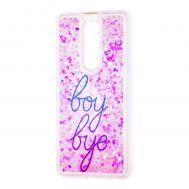 "Чехол для Meizu M8 Note Блестки вода светло-розовый ""boy bye"""