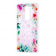 """Чехол для Meizu M8 Note Блестки вода светло-розовый """"цветущие уголки"""""""