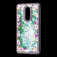 """Чехол для Meizu M8 Lite Блестки вода светло-розовый """"цветы"""""""