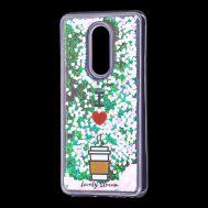 """Чехол для Meizu M8 Lite Блестки вода светло-розовый """"я люблю кофе"""""""