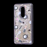 """Чехол для Meizu M8 Lite Блестки вода серебристый """"пудра и помада"""""""