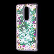 """Чехол для Meizu M8 Note Блестки вода светло-розовый """"цветы"""""""