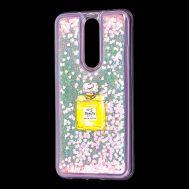 """Чехол для Meizu X8 Блестки вода светло-розовый """"духи"""""""