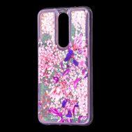 """Чехол для Meizu X8 Блестки вода розовый """"розово-фиолетовые цветы"""""""
