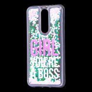 """Чехол для Meizu X8 Блестки вода светло-розовый """"босс"""""""