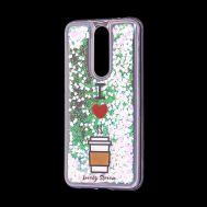 """Чехол для Meizu X8 Блестки вода светло-розовый """"я люблю кофе"""""""